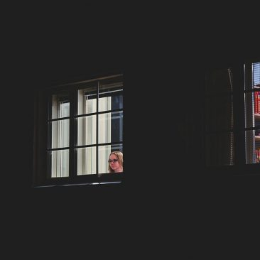 a girl in window